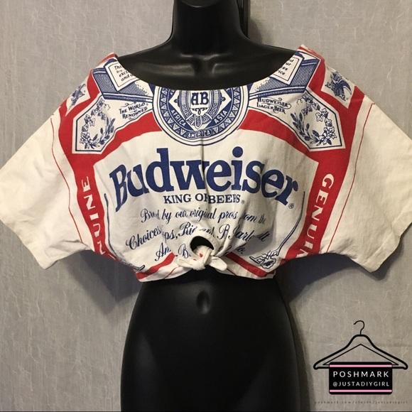 a62e71ffa147c3 Retro 90 s Budweiser Off the Shoulder Tie Crop Top